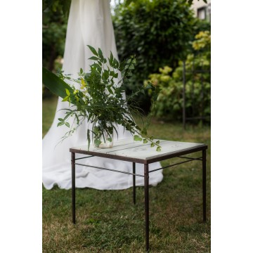 Squared table with industrial writings