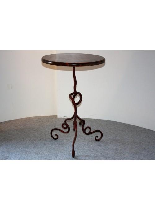 Tavolinetto in ferro battuto e legno - Radix