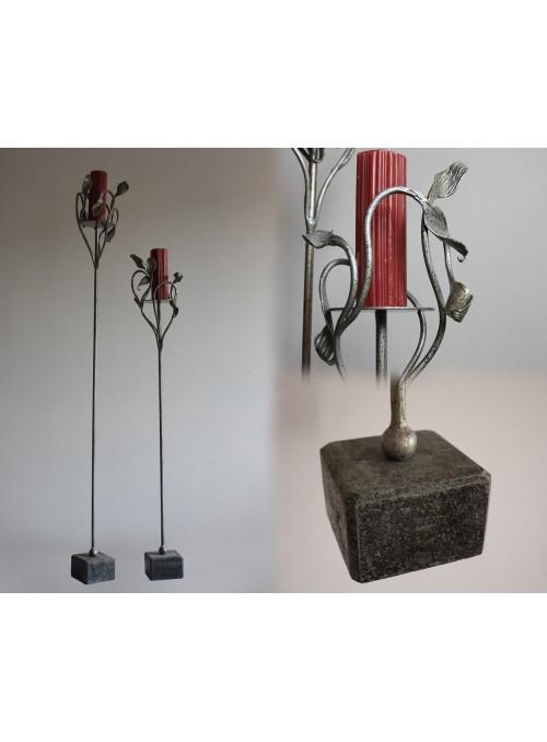 Porta candele in ferro battuto e pietra - Natura