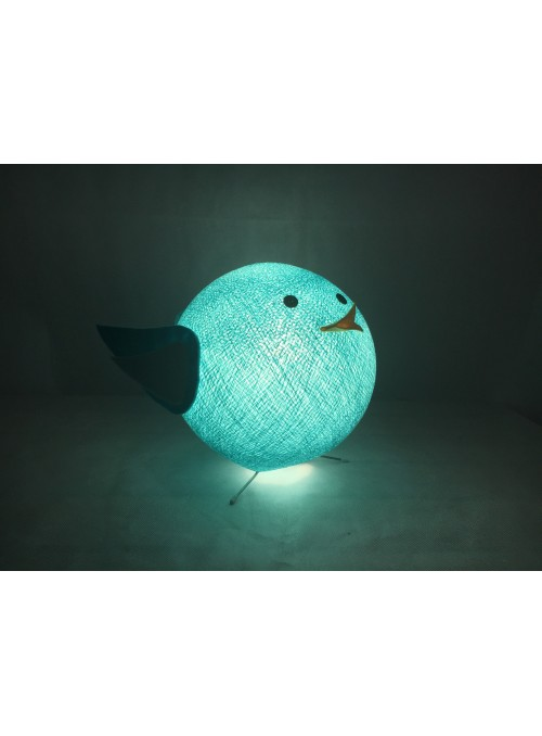 Table lamp in cotton strings and felted fabric for children - Birdy