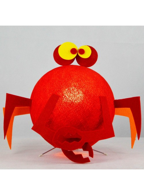 Table lamp in cotton strings and felted fabric for children - Crabby