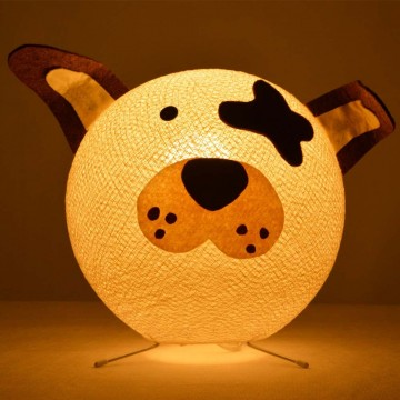 Table lamp in cotton strings and felted fabric for children - Doggy