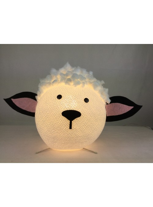 Table lamp in cotton strings and felted fabric for children - Dolly