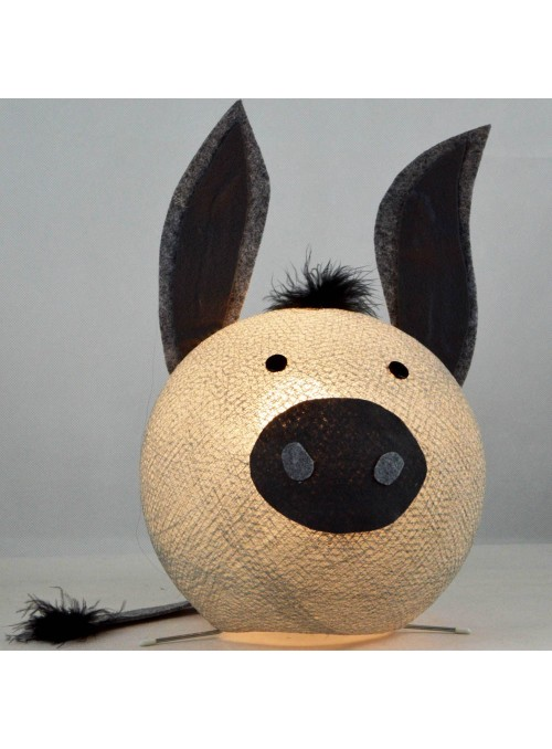 Table lamp in cotton strings and felted fabric for children - Donky