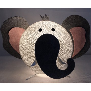 Table lamp in cotton strings and felted fabric for children - Elefanty