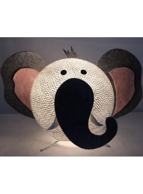 Lampada da tavolo per bambini in cotone, feltro, panno lenci - Elefanty