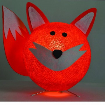 Table lamp in cotton strings and felted fabric for children - Foxy