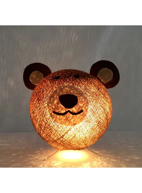Table lamp in cotton strings and felted fabric for children - Griz