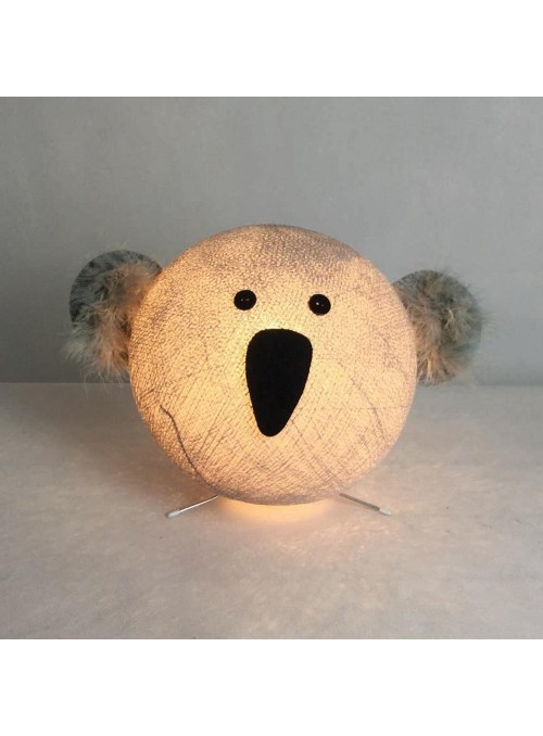 Table lamp in cotton strings and felted fabric for children - Koa