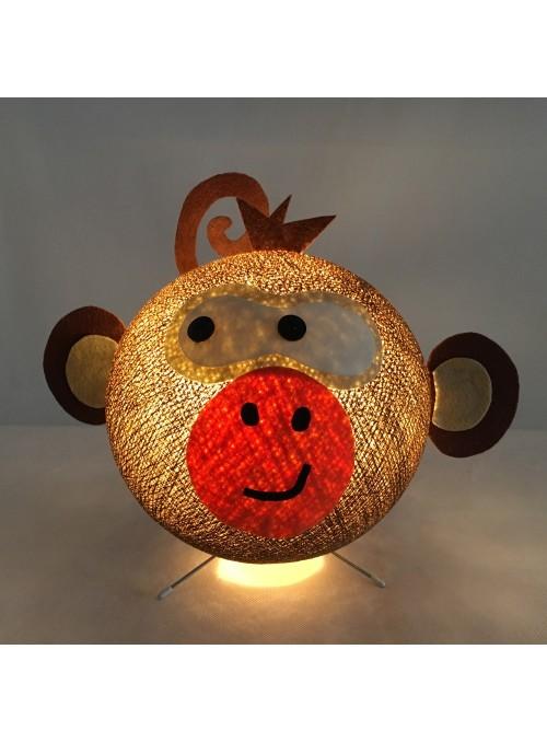 Lampada da tavolo per bambini in cotone, feltro, panno lenci - Monkey