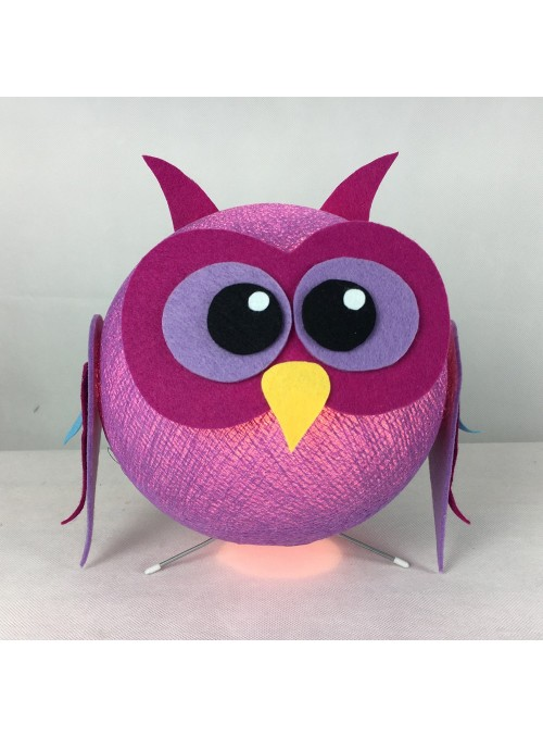 Table lamp in cotton strings and felted fabric for children - Owly