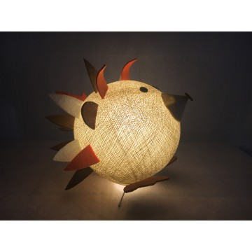 Table lamp in cotton strings and felted fabric for children - Spino
