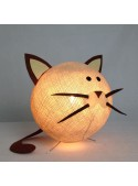 Table lamp in cotton strings and felted fabric for children - Catty