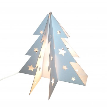 Small cardboard Christmas tree table lamp