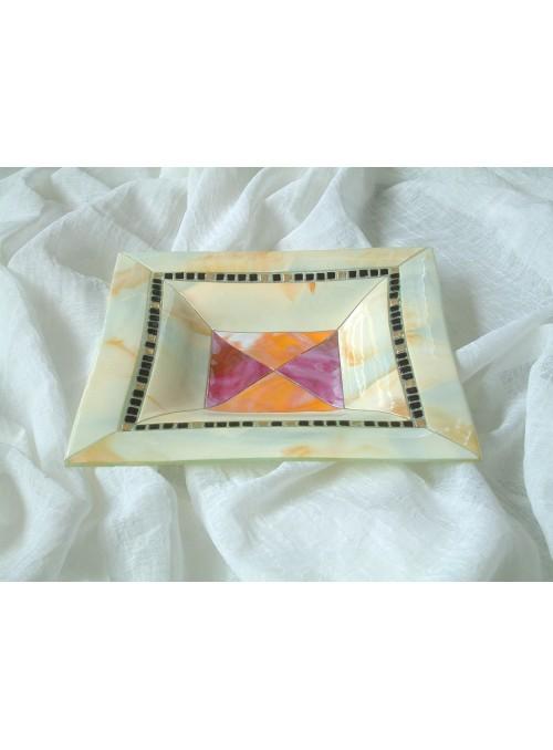 Centrotavola quadrato in vetro decorato - Soffice