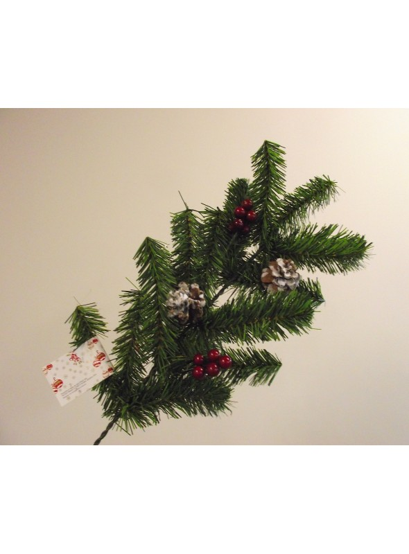 Three pine branches set with pine cones and berries