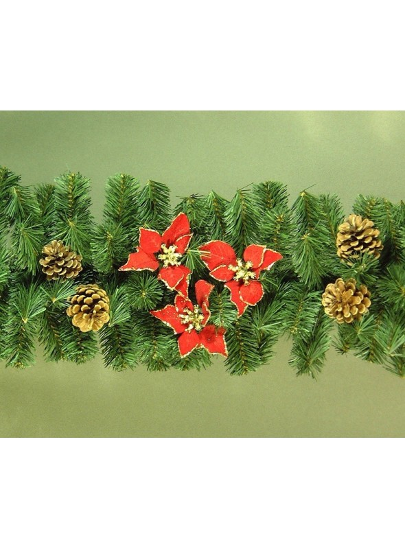 Green pine branch wreath with stars and pine cones