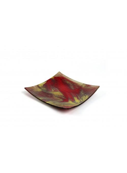 Piatto in vetro fusione quadrato - Spatolato
