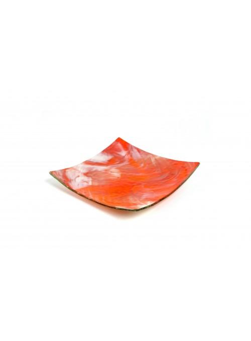 Squared plate in fusion glass - Spatolato