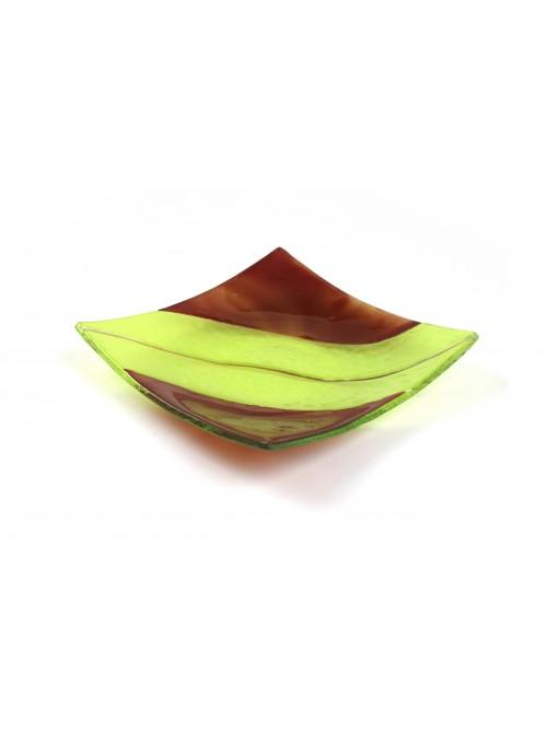 Squared plate in fusion glass - Vanilla