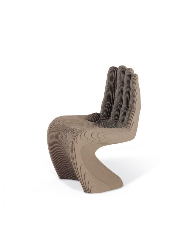 Ecodesign cardboard chair in the shape of a hand