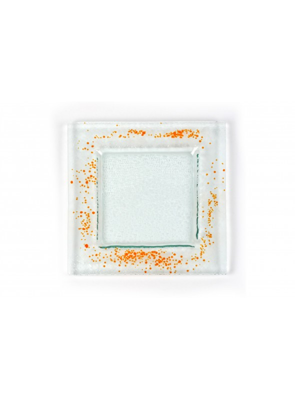 Squared plate in fusion glass small size - Graniglie