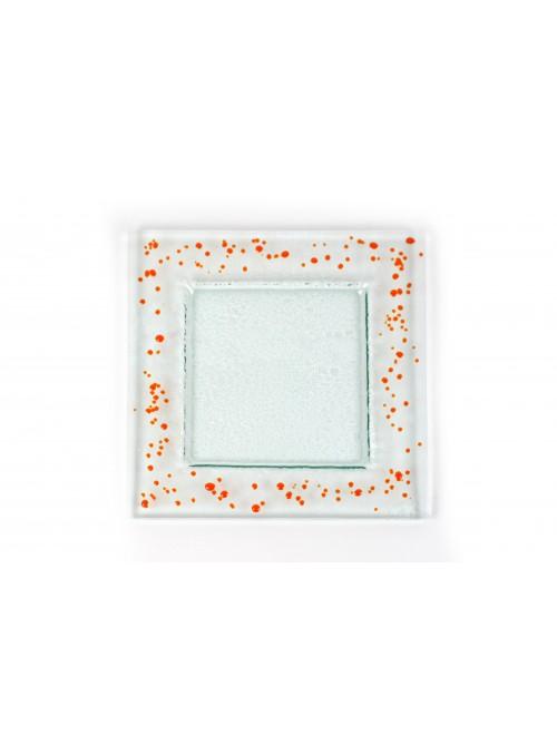Squared plate in fusion glass big size - Graniglie