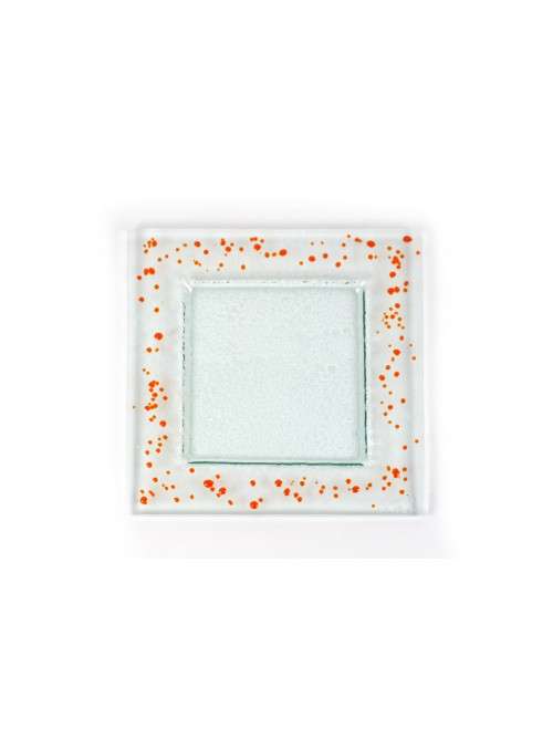 Squared plate in fusion glass big size - Graniglie