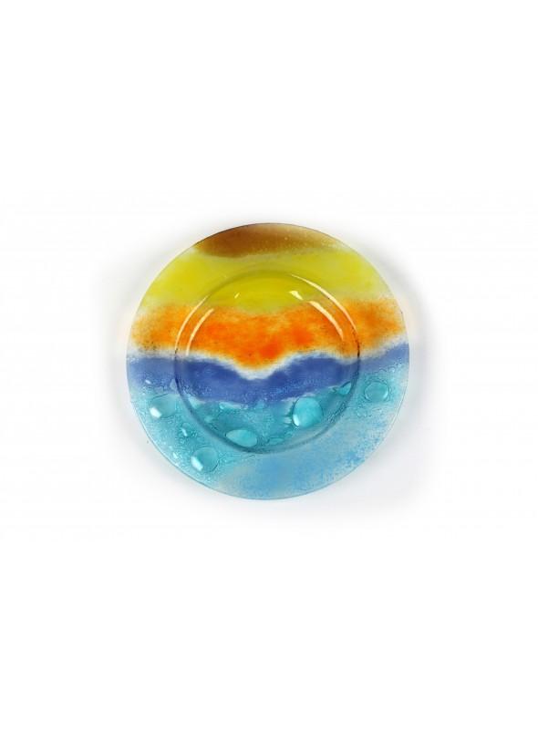 Piatto in vetro fusione tondo - Orizzonte