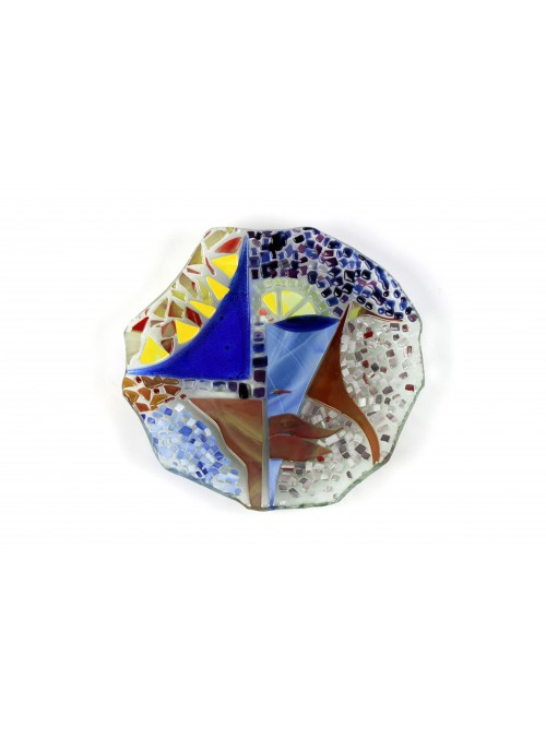 Asymmetrical plate in fusion glass - Fantasia mosaico
