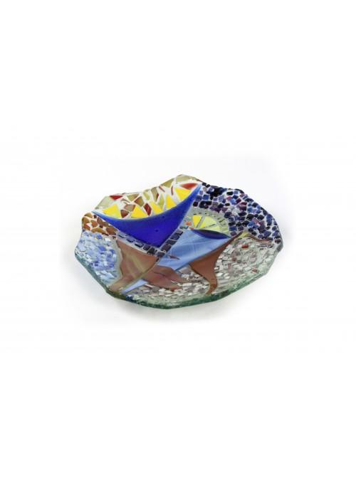 Piatto asimmetrico in vetro fusione - Fantasia mosaico
