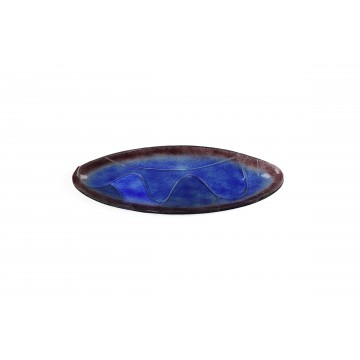 Vassoio ovale in vetro fusione con onde - Abissi