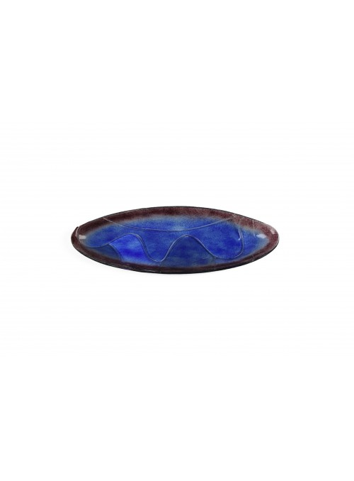 Oval tray in fusion glass with waves - Abissi