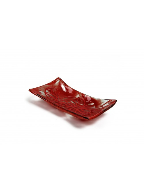 Rectangular tray in fusion glass - Stringhe