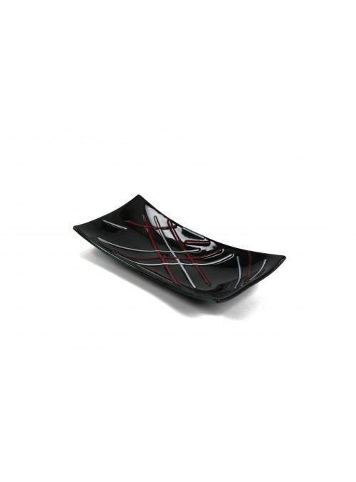 Rectangular tray in fusion glass - Intarsi