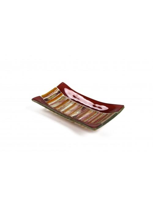 Rectangular tray in fusion glass - Ambra