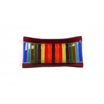 Vassoio rettangolare in vetro fusione - Arcobaleno