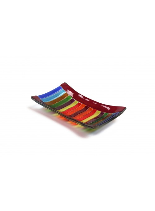 Rectangular tray in fusion glass - Arcobaleno