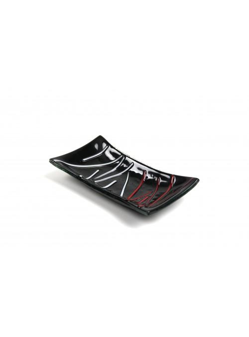 Rectangular tray in fusion glass - Stringhe mini