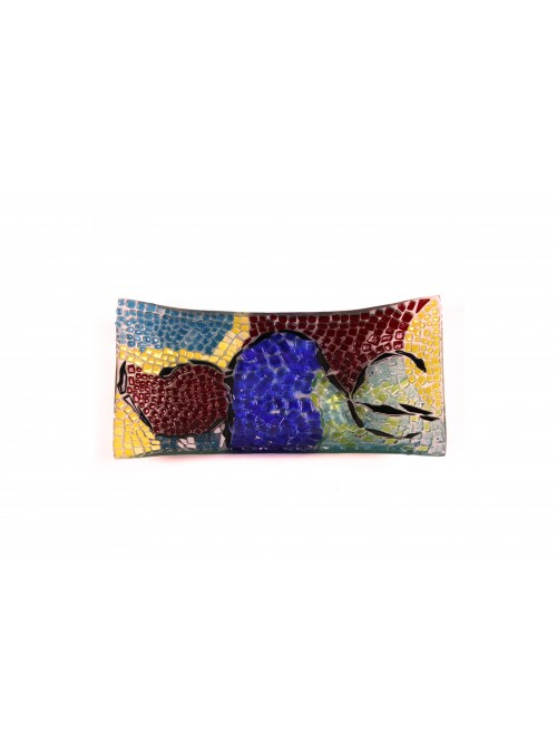 Rectangular tray in fusion glass - Mosaico multicolor
