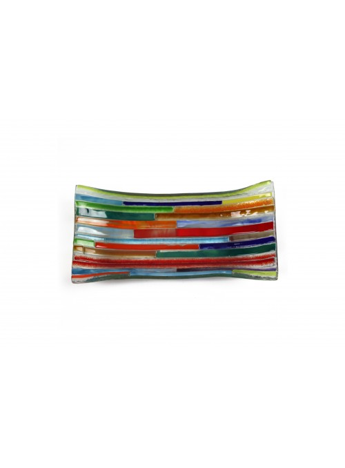 Rectangular tray in fusion glass - Tessere multicolor