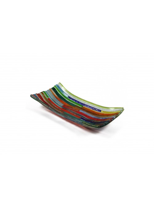 Vassoio rettangolare in vetro fusione - Tessere multicolor