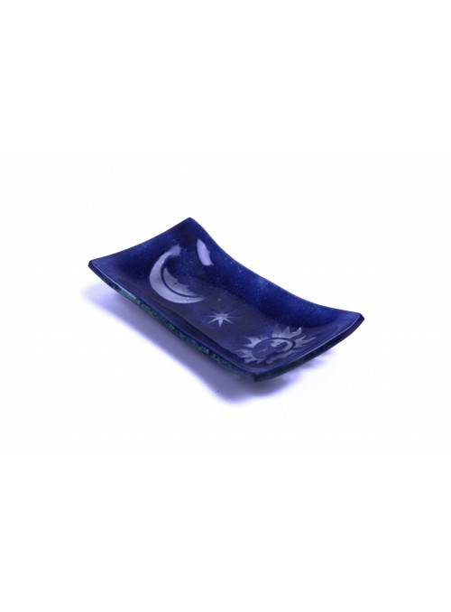 Rectangular tray in fusion glass - Sole e luna