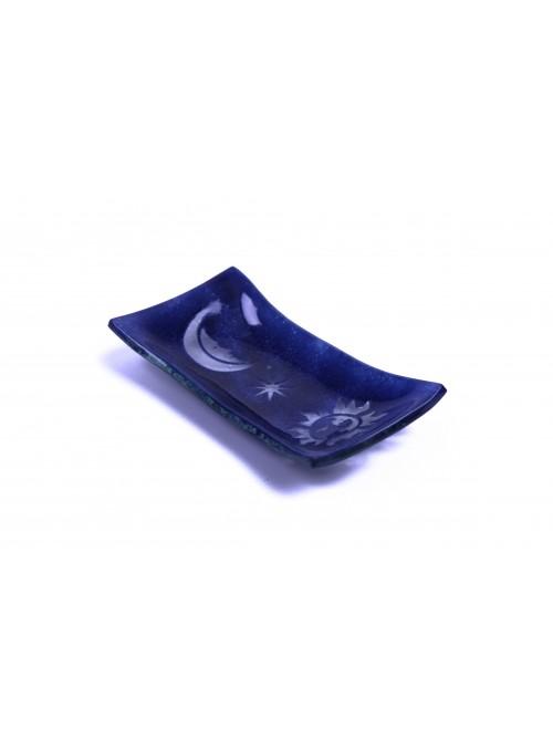 Rectangular tray in fusion glass - Sole e luna