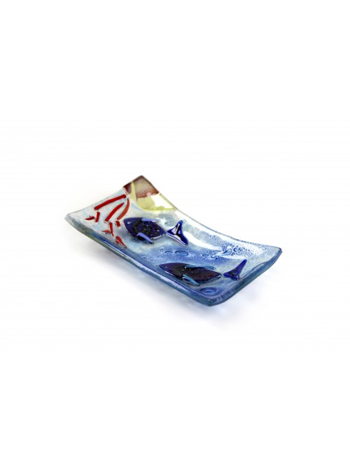 Rectangular tray in fusion glass - Acquario