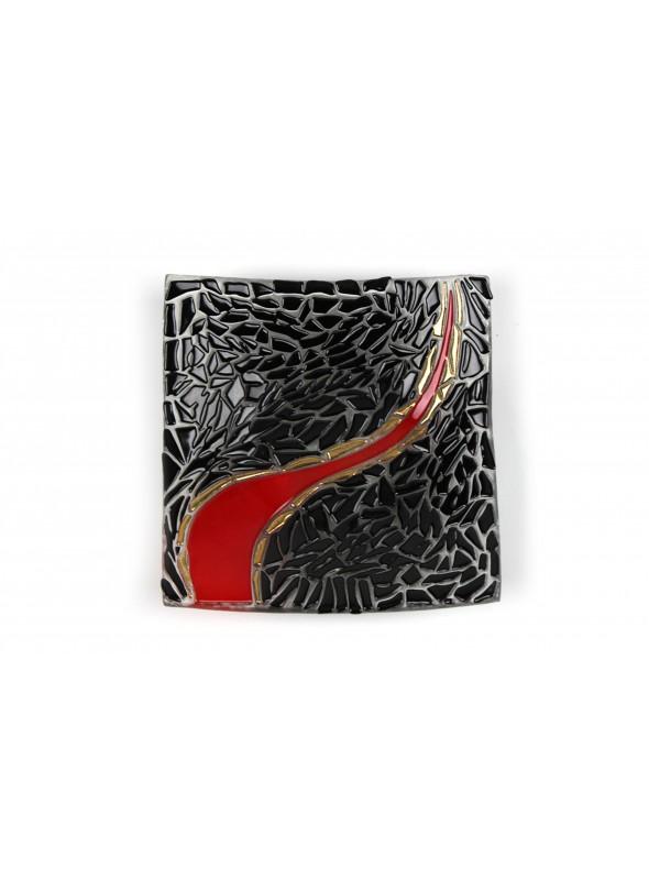 Squared tray in fusion glass - Lingua di fuoco