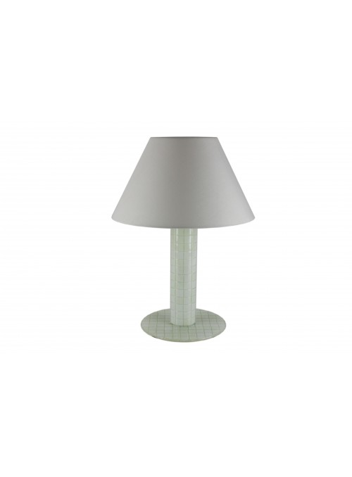 Lampada da tavolo in vetro fusione in bianco