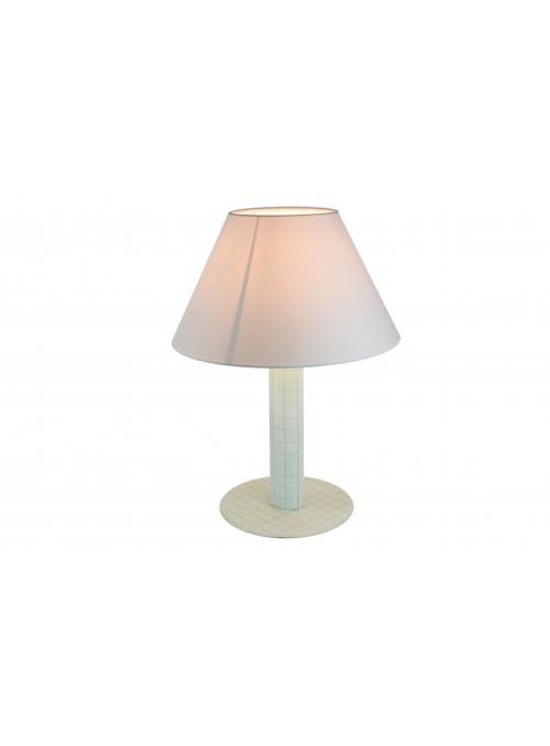 Lampada da tavolo in vetro fusione bianca