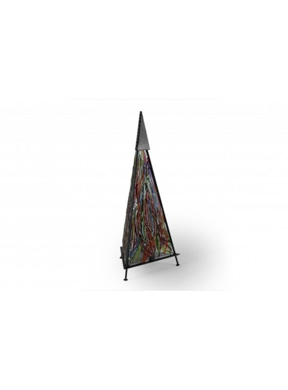 Lampada da tavolo in vetro fusione e ferro - Piramide