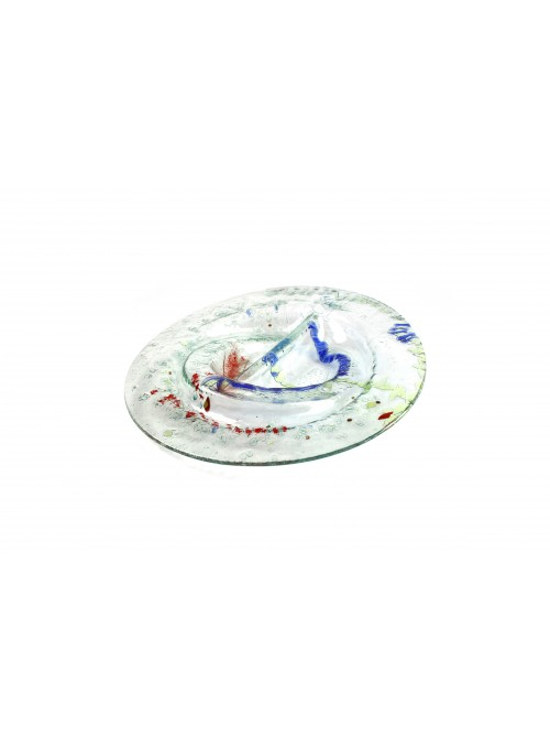 Vassoio tondo trasparente in vetro fusione - Doppio